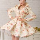 Ready to Ship Luxury Peach Floral Trench Coats Elegant Coats for Women with CC Brooch