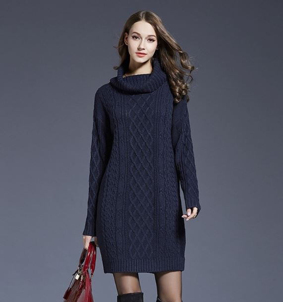 Navy Blue Sweater Dress Turtleneck Sweaters Warm and Long Sweaters RudelynsSariSariStore.com Coats