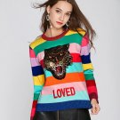 """LOVED"" Sweaters for Women Multicolor Striped Sweaters for Teenage Girls Free Size"