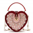 Red Clutch Bags for Women Heart Velvet Red Leather Bags Hearts and Crystal Crossbody Bags Red Purses