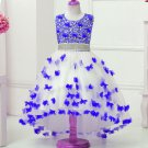 Full Butterfly Patches Floral Patches Royal Blue Dress for Girls Free Tiara