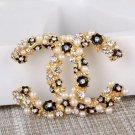 Rsslyn Golden-Black Floral Brooch High-Quality Wedding Brooches Birthday Gift