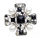 Rsslyn Black Brooches Black Cross with Pearls