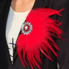 Rsslyn Large Feather Brooch Red Brooch for Women