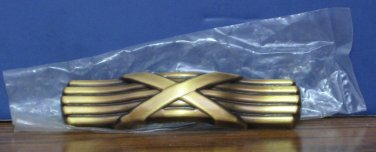 """Brass Drawer Pull Handle - Center X Design - 4 1/2"""" - Unused - 3"""" Hole Spacing"""