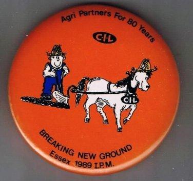 Retro Pinback Button Essex Ontario 1989 International Ploughing Match CIL