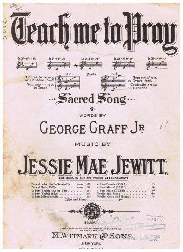 Teach Me To Pray Sheet Music George Graff Jessie Mae Jewitt