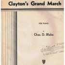 Clayton's Grand March Sheet Music Chas Blake