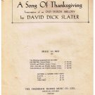 A Song Of Thanksgiving Sheet Music Old Dutch Melody David Slater