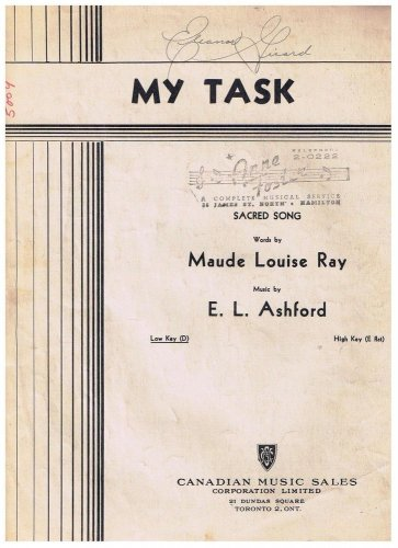 My Task Sheet Music Maude Louise Ray E L Ashford