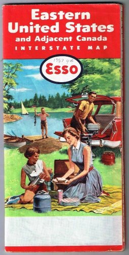 Esso Eastern United States Road Map 1957 Adjacent Canada