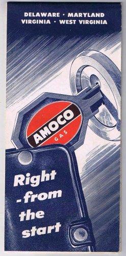 Delaware Maryland Virginia West Virginia Amoco Road Map 1956