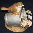1991 ENESCO Bird Bucket Flowers Figurine