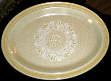 """Royal Doulton Sunny Day Oval Serving Platter 13"""" Yellow Band"""