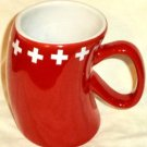 Cotfer Geneva Swiss Red Curved Mug White Plus Signs