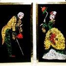 VINTAGE WW2 Era Crushed Colored Foil Lady & Gentleman Montreal 1945 Black Matte