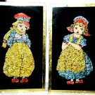 VINTAGE WW2 Era Crushed Colored Foil Dutch Boy & Girl Montreal 1945 Black Matte