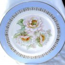Royal Staffordshire Plate Wilkinson Roses Powder Blue Gold Border England