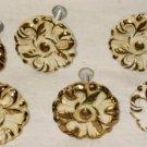 6 Brass Cabinet Door Drawer Handles Knobs Embossed Painted