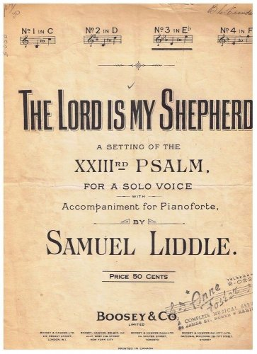 The Lord Is My Shepherd 23rd Psalm Sheet Music Samuel Liddle
