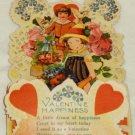 Germany Die Cut Valentine Card Vintage Honeycomb Fold Out Boy Girl Birds Roses