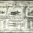 VINTAGE Lake Champlain Ferries 1926 Schedule Burlington VT Kent NY Ausable Chasm
