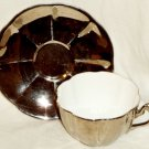 Royal Albert Crown China Silver Tea Cup & Saucer Mirrored Lustre England 1939