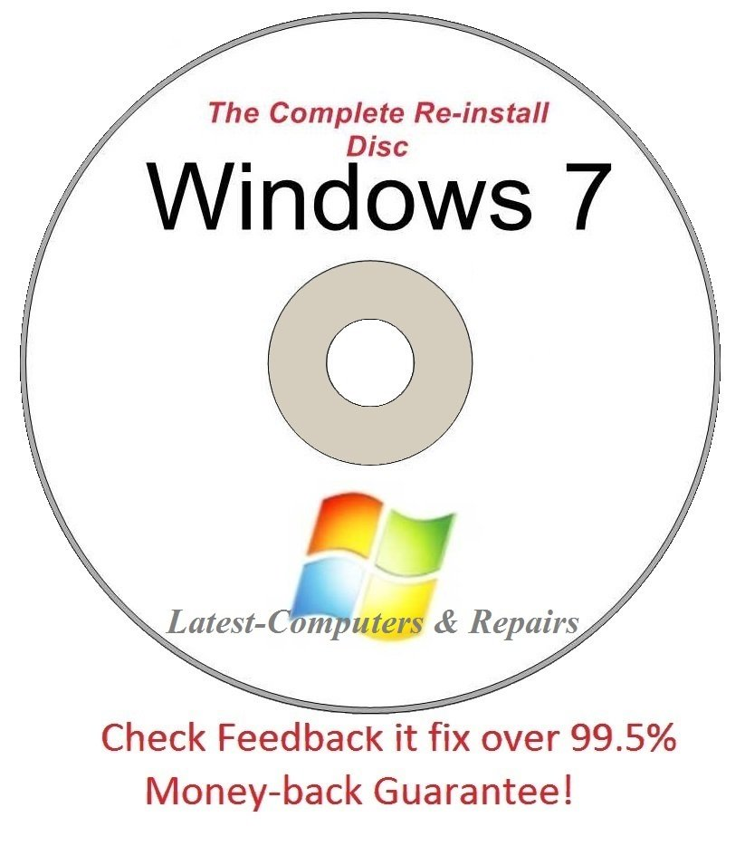 Windows 7 All Versions  32/64-Bit Complete Re-install Disc  - Had windows? you can Reinstall it