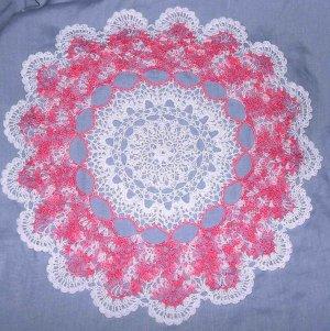 "Thread Crochet White & Pink Round Pineapple Doily 18"""