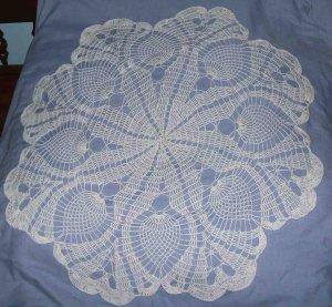 """NWOT 30"""" White Crochet Pinapple Tablecover Doily"""