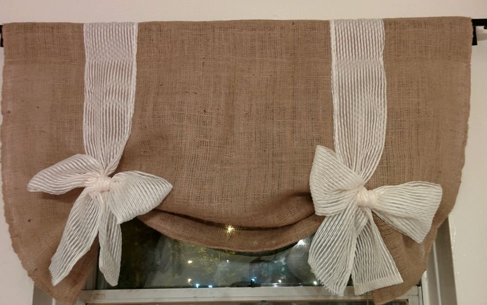 Handmade Tie Up Burlap Valance