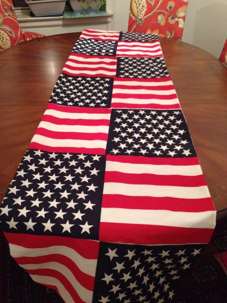 Handmade  100%Cotton American Flag Table Runner