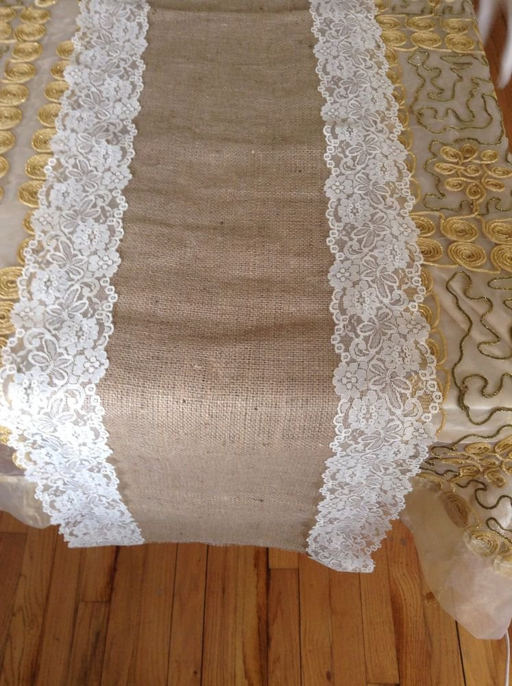 Handmade Natural Burlap Table Runner with Off White Trimming