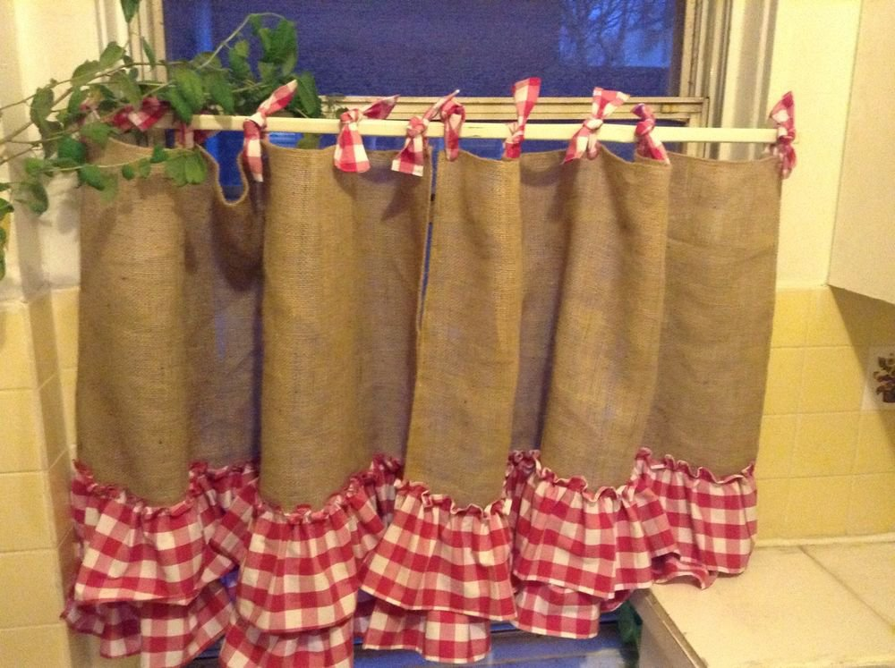 Handmade French Country Cafe Style  Burlap And Gingham,with 2 Tires Of Ruffles
