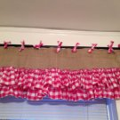 Handmade Burlap Natural Valance  Window Treatment Rustic Look With Pink Gingham