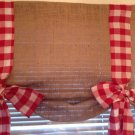 Handmade Tie Up Burlap Valance With Red Gingham Bow