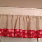 Handmade White Burlap Valance With Red Gingham Window Treatment Rustic Look