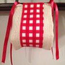 Beautiful Handmade Burlap And GinghamToilet Paper Holder