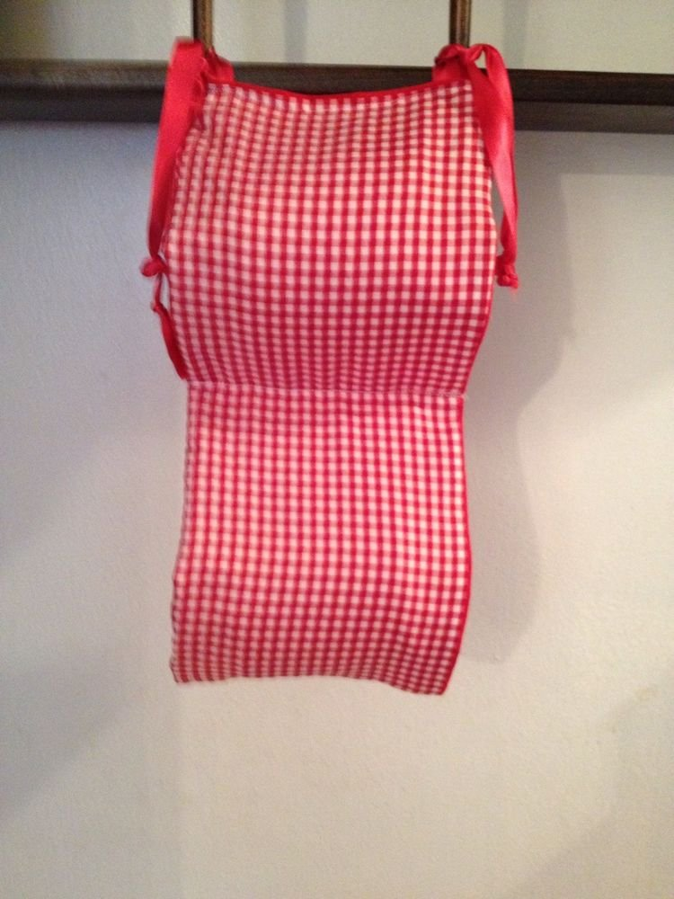 Beautiful Handmade Red Baby Gingham AndSolid Red  Toilet Paper Holder