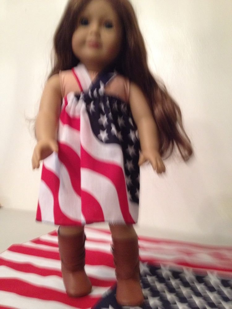 Handmade American Flag Sundress For American Girll Doll 18""