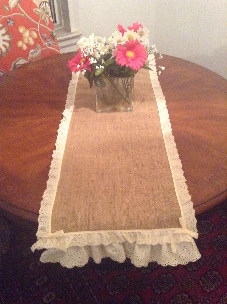 Handmade Burlap Table Top Ir Runner, Cute Vintage Look