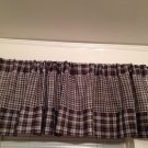 "Handmade Very Dark Brown Gingham Valance 75"" Wide19""Long Cotton Revesible"