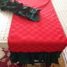 Handmade Red Table Runner With Green Ruffles Holiday Spirits