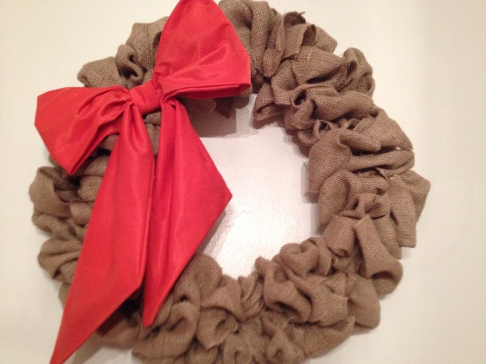 "Handmade 22""bubble burlap wreath, fall wreath With Orange Bow"