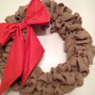 "Handmade 22""bubble burlap wreath, fall wreath With Orange Bow"