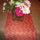 Handmade Natural Burlap Table Runner Coverd With Red Lace Happy Holidays