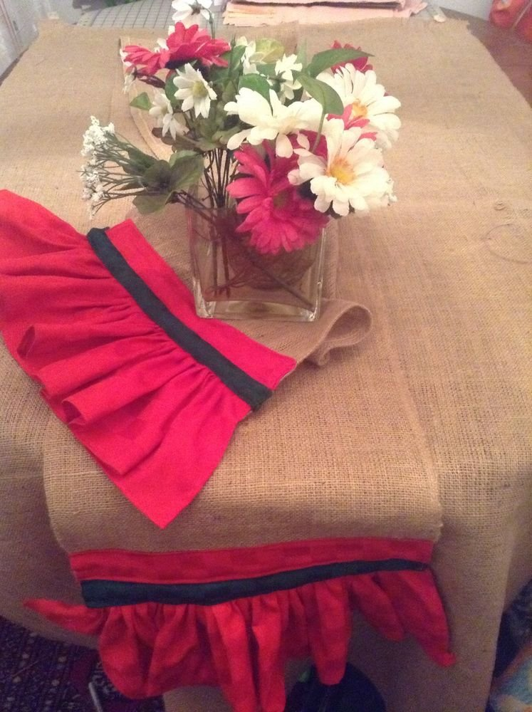 Handmade Burlap Table Runner With Red And Green Great For Hoildays Table