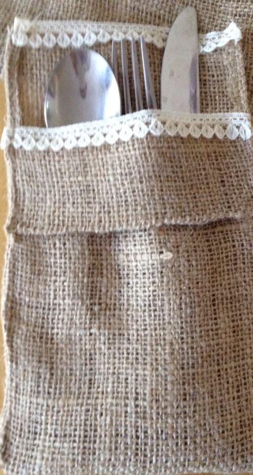 Handmade Set of 6 Burlap And Lace Utensil Holders