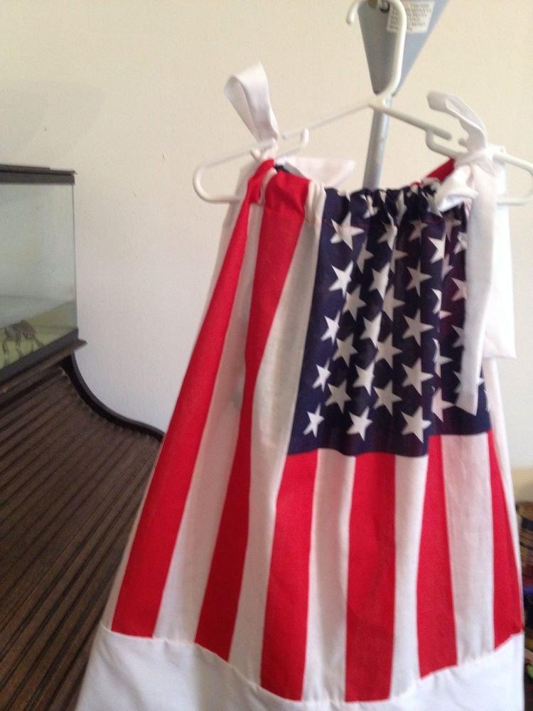 Handmade100%Cotton American flag pillowcase dress 4-5