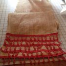 Handmade Burlap Table Runner With 5 Tires Of Red Beads Trim Holidays Spirits